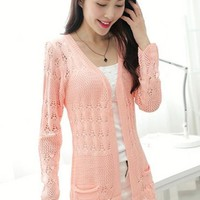 Skin Pink Plain Hollow-out Pockets Knit Cardigan Sweater