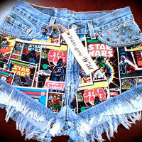STAR WARS High waisted destroyed denim shorts super frayed with motif size Sm/Med/Lg