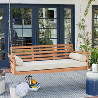 Deep Seat Wood Porch Swing Outdoor Bed with Cushion & 2 Pillows