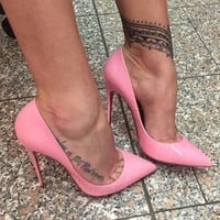 Cindy Pink Patent Leather Pumps