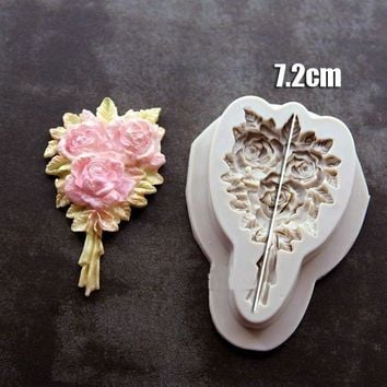 Rose Flower Cake Silicone Fondant Mold Mousse Cake Border Decorating Tools Sugar Icing Paste Mold