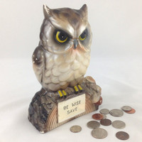Mid Century Ceramic Owl Bank Words of Wisdom, Be Wise Save 1960s Screech Owl Money Bank Wise Owl Ceramic Coin Bank Vintage Japanese Owl Bank