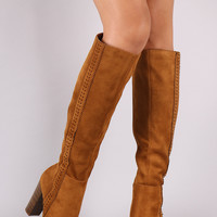 "Suede Perforated Trim Chunky Heeled Knee High Boots Heel Height: 4"" Shaft Length: 19.5"" (including heel) Top Opening Circumference: 14"" Black & Chestnut"
