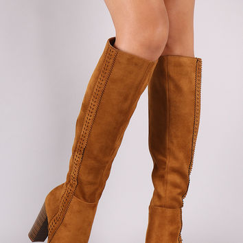 Suede Perforated Trim Chunky Heeled Knee High Boots