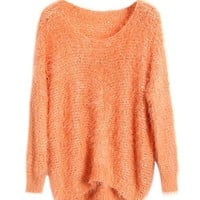 Orange Knitted Sweater With Sequin Detail