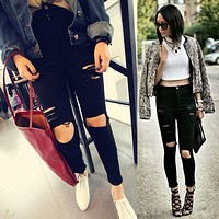 2017 Summer High Waist Jeans Woman Skinny Ripped Jeans For Women Boyfriend Jeans For Women Stretch Ripped Black Jeans Plus Size