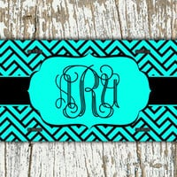 Monogrammed license plate, personalized front license plate - Aqua and black pattern - monogram car tag auto accessory bicycle bike (1278)