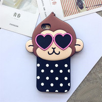 Spot Monkey iphone 6S Case Heart Eyes Monkey Soft Silicone iphone 5S Case Cute Animals Cartoon Back Caver Case For iphone 6plus