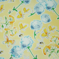Cotton fabric, FRIENDSHIP GARDEN, Flower BUTTERFLY Yellow Bees floral Kathy Davis quilt half yard Excellent Fabric Creative Genius Projects