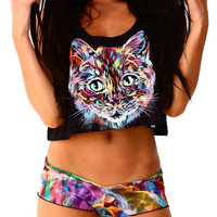Into The AM Space Cat II Rave Festival Crop Top (AM415-1-OS)