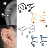 Stainless Steel S Spiral Helix Punk Ear Stud Lip Nose Ring Cartilage for Body Jewelry