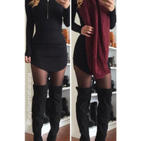 Mock Neck Bodycon Dress - Black - FINAL SALE