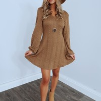 All Snuggled Up Sweater Dress: Tan