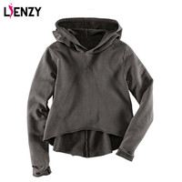 LIENZY Solid women sport hoodies tracksuits Dovetail hem Grey Fashion Long Sleeve Thin Spring Vintage Crop Tops Hooded