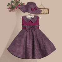"""The """"Madison"""" Vintage Inspired Burgundy Blue Dot Dress with Matching Hat"""