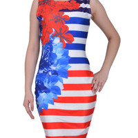 Floral Striped Sleeveless Bodycon Mini Dress