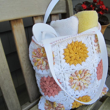Crochet Beach Bag, Cotton Pool Tote, Floral Beach Bag, Handmade Cotton Bag by CROriginals