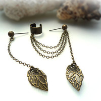 EAR CUFF - Simple Leaf Ear Cuff - Extra Stud With Chain And Leaf - Antique Bronze ( A6 )