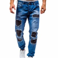 2017 New Men'S Jeans Ripped Beggar Holes Pants Korean Style Elasticity Casual Male Trousers Cool Stretch Man Denim Pants 38