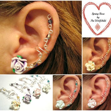 "Prom Cartilage Ear Cuff ""Spring Rose"" Wedding Bridal No Piercing Helix Conch Color Choices"