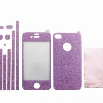 Sparkle Diamond Front+Back+Border Membrane Screen Protector Film for iPhone 4 4S