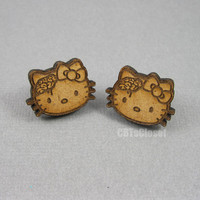 Zombie Hello Kitty Stud Wood Earrings by CBTsCloset on Etsy