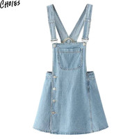 Women 2 Colors Pinafore Style Side Button Pockets Overall Cute Casual Mini Denim Dress Summer New Empire A Line Clothing