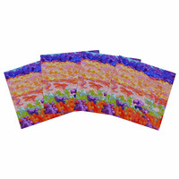 """Jeff Ferst """"Earthly Delights"""" Floral Abstract Indoor/Outdoor Place Mat (Set of 4)"""