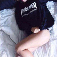 Winter new THRASHER letter printing hooded head fleece cotton sweater men and women models coat Black