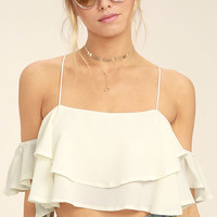 Filled with Surpises Cream Off-the-Shoulder Crop Top