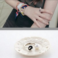 Jewelry Stylish Gift New Arrival Shiny 925 Silver Pearls Accessory Ring [7652920135]