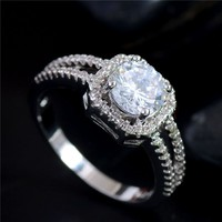 H:HYDE Fine Shipping silver Clear CZ Zirconia Fashion Jewelry Wedding Ring New Arrival Round Type Rings Size 5 6 7 8 9 10 11 12