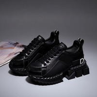 19SS Dolce & Gabbana D&G Black Casual Shoes Genuine Leather Leisure Comfortable Sneaker DG Boots