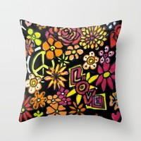 Peace and Love marker ART Throw Pillow by RokinRonda | Society6