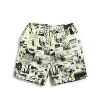 Old School Men's Beige & Turquoise Casual Quick Dry Beach Board Shorts