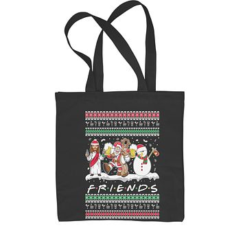Friends Christmas Drinking Party Ugly Christmas Shopping Tote Bag