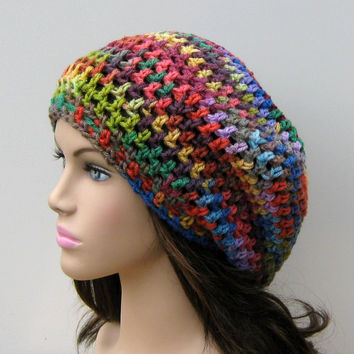 Fun colors slouchy beanie, small dread tam hat, slouch beanie, smaller dreadlocks hat, vegan woman beanie