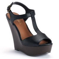 Candie's Women's T-Strap Platform Wedge Sandals