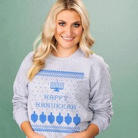Happy Hanukkah Ugly Sweater Crewneck Sweatshirt