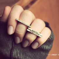 3 Bold LOVE DREAM Rhinestone Midi Ring, Above Knuckle ring, Simple Band Rings