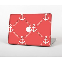 """The Coral & White Vintage Solid Color Anchor Linked Skin Set for the Apple MacBook Air 13"""""""