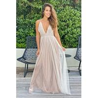 White And Beige Maxi Dress With Gold Glitter Mesh