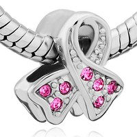 Pugster Silver Plated Pink Breast Cancer Awareness Ribbon Crystal Bead Fits Pandora Charms Bracelet (Pink)