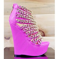 """Caked Up Fuchsia Pink Chain Strap 6"""" Platform Wedge Shoe Nelly Bernal Size 7.5"""