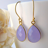 Small Lavender Chalcedony Gold Drop Earrings, Lilac Bezel Dangle, Light Purple Gemstone Earrings, 24k Gold Vermeil Earrings