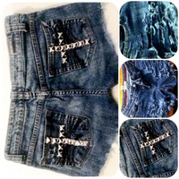 Crucifix Studded Pocket Distressed Jean Shorts by ElecktraFly