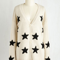 Vintage Inspired Mid-length Long Sleeve Starred Again Cardigan