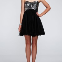 Strapless Short Dress with Tulle Skirt and Sequin - David's Bridal