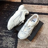 Dior Men's Leather Fashion Low Top Sneakers Shoes-KUYOU