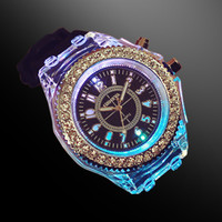 Woman Men Student LED Jelly Watch    Black